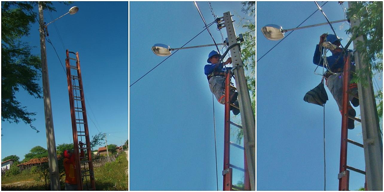 Técnicos da Prefeitura realizam manutenção da iluminação pública constante...